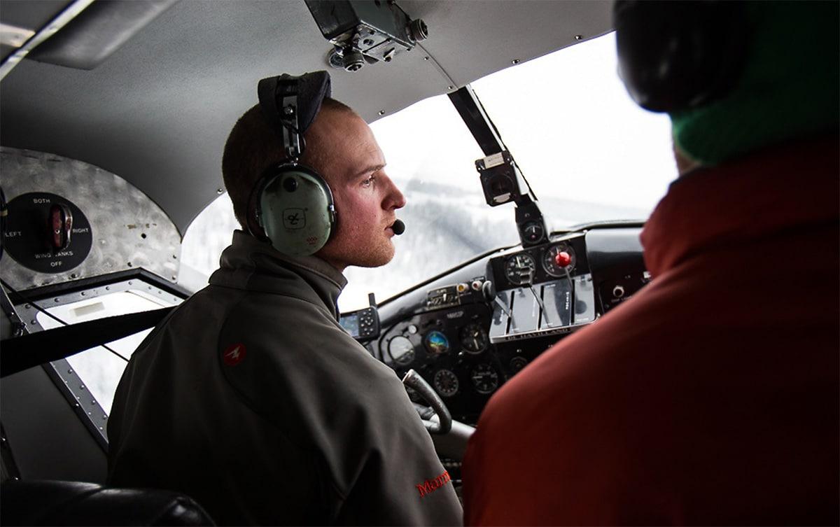 Alaska heli skiing aircraft pilot