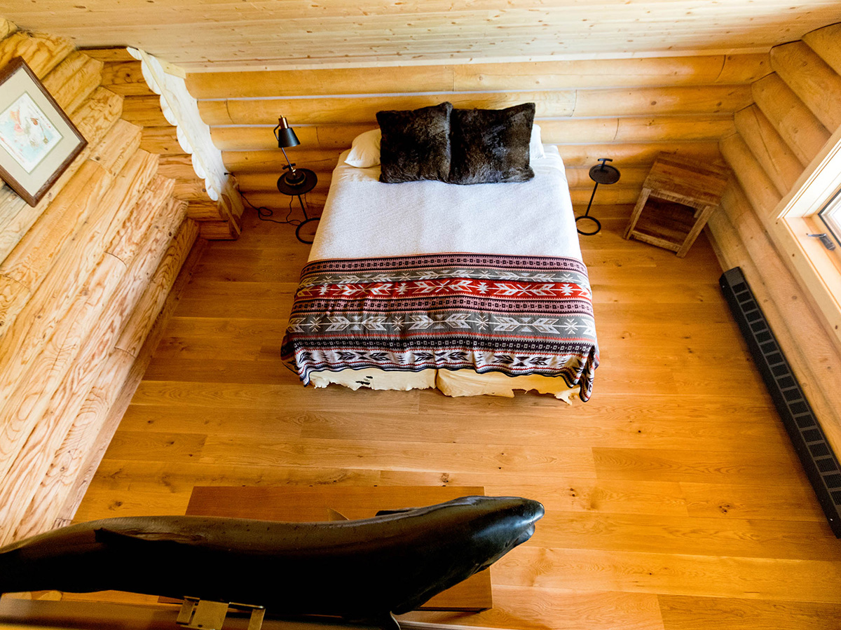 A view of a Main Lodge bedroom from above.