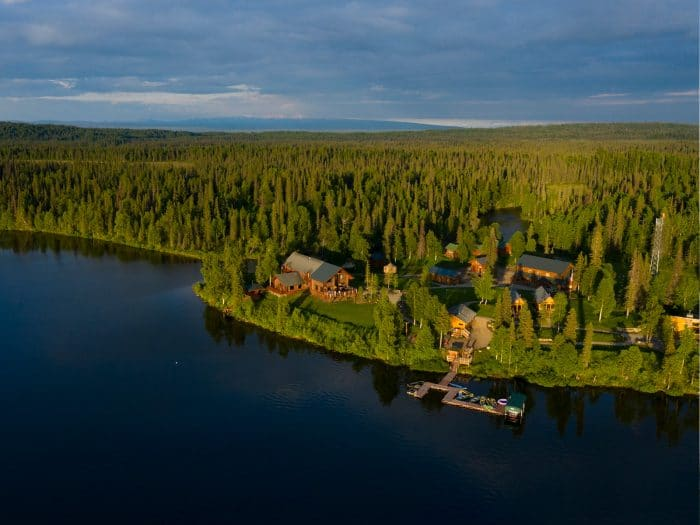 An overhead shot of Judd Lake and Tordrillo Mountain Lodge on a summer day.