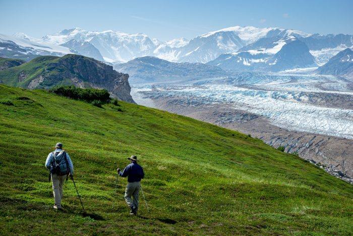 Two men take a summer hike on a grassy mountainside while overlooking an Alaska glacier.