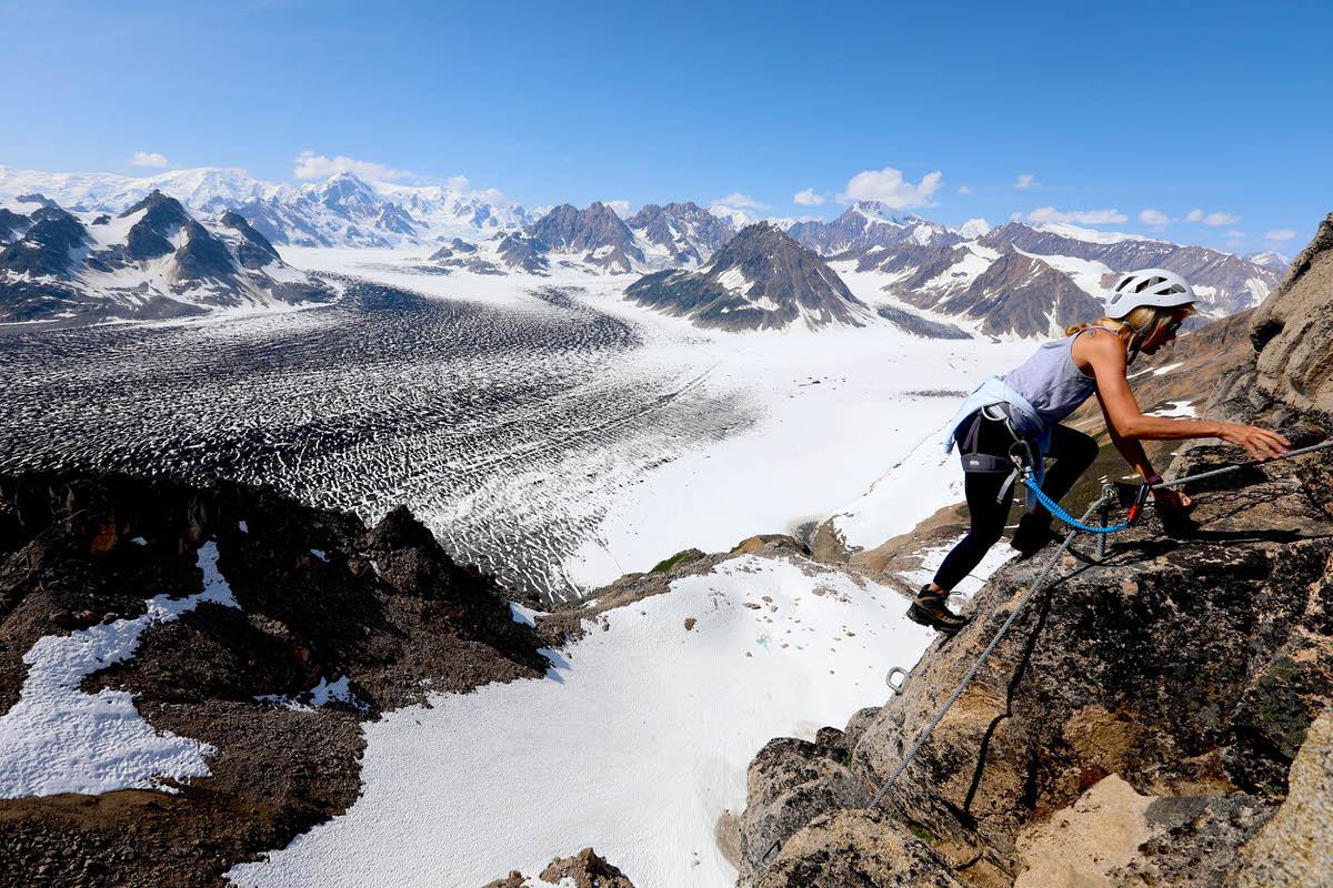 A guest at Tordrillo Mountain Lodge climbs Alaska's first via ferrata.